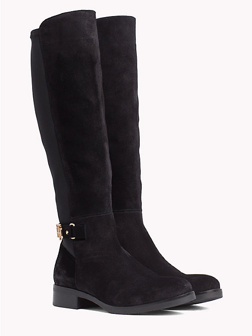 TOMMY HILFIGER Monogram Buckle Stretch Boots - BLACK - TOMMY HILFIGER Knee-High Boots - main image