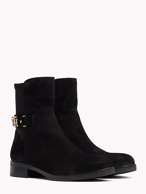 TOMMY HILFIGER Monogram Embellished Ankle Boots - BLACK - TOMMY HILFIGER Shoes - main image