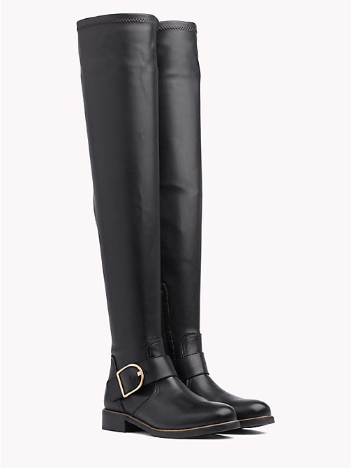 TOMMY HILFIGER Over-The-Knee Statement Buckle Boot - BLACK - TOMMY HILFIGER Shoes - main image