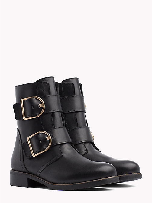 TOMMY HILFIGER Statement Buckle Boots - BLACK - TOMMY HILFIGER The shoe edit - main image