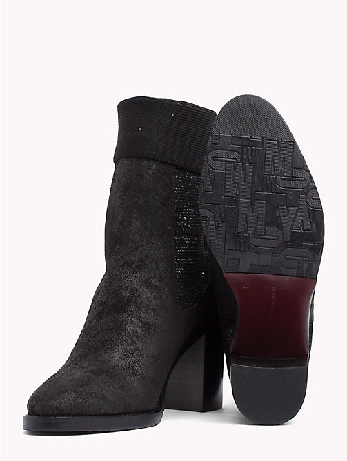 TOMMY HILFIGER Knitted Suede Sock Boots - BLACK - TOMMY HILFIGER Heeled Boots - detail image 1
