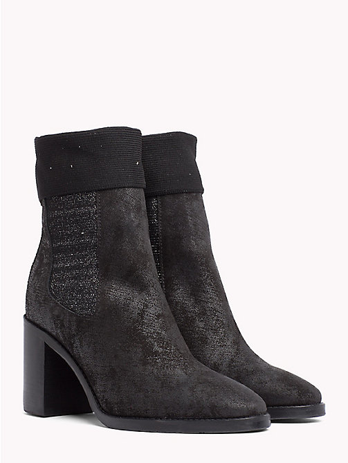 TOMMY HILFIGER Knitted Suede Sock Boots - BLACK - TOMMY HILFIGER Heeled Boots - main image