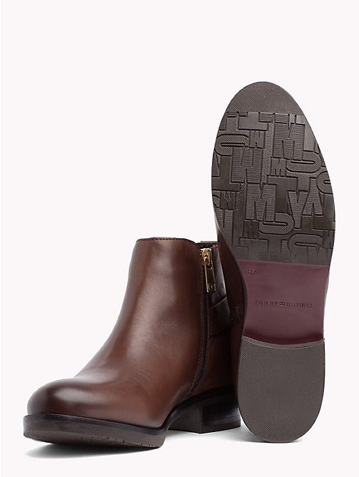 TOMMY HILFIGER Monogram Buckle Leather Booties - COFFEE - TOMMY HILFIGER Shoes - detail image 1