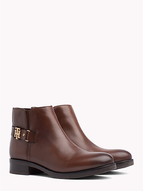 TOMMY HILFIGER Monogram Buckle Leather Booties - COFFEE - TOMMY HILFIGER Ankle Boots - main image
