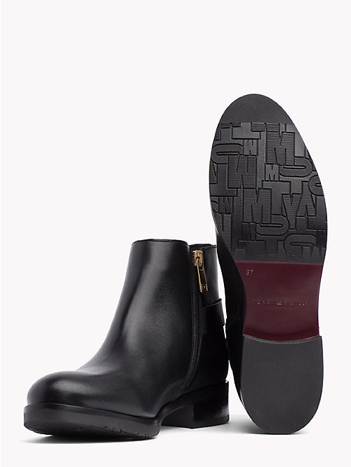 TOMMY HILFIGER Monogram Buckle Leather Booties - BLACK - TOMMY HILFIGER NEW IN - detail image 1