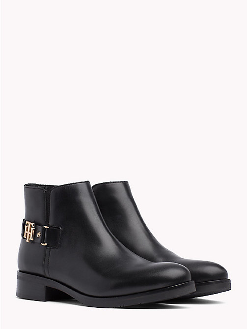 TOMMY HILFIGER Monogram Buckle Leather Booties - BLACK - TOMMY HILFIGER Ankle Boots - main image