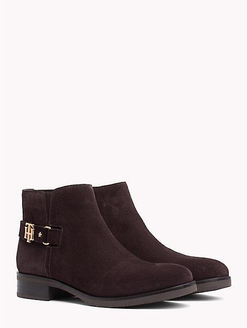 TOMMY HILFIGER Buckle Suede Low Boots - EBONY - TOMMY HILFIGER Shoes - main image