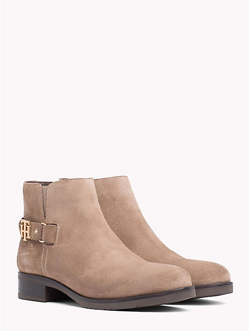 TOMMY HILFIGER Buckle Suede Low Boots - MINK - TOMMY HILFIGER Ankle Boots - main image