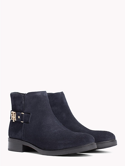 TOMMY HILFIGER Buckle Suede Low Boots - MIDNIGHT - TOMMY HILFIGER Ankle Boots - main image