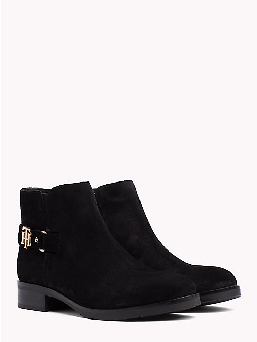 TOMMY HILFIGER Buckle Suede Low Boots - BLACK - TOMMY HILFIGER Ankle Boots - main image