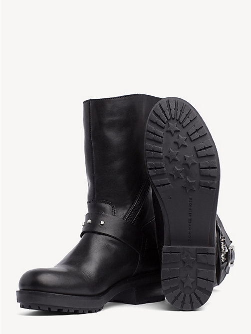 TOMMY HILFIGER Star Embellished Leather Boots - BLACK - TOMMY HILFIGER Boots - detail image 1