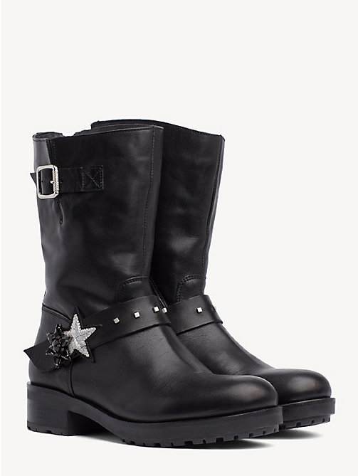 TOMMY HILFIGER Star Embellished Leather Boots - BLACK - TOMMY HILFIGER Boots - main image