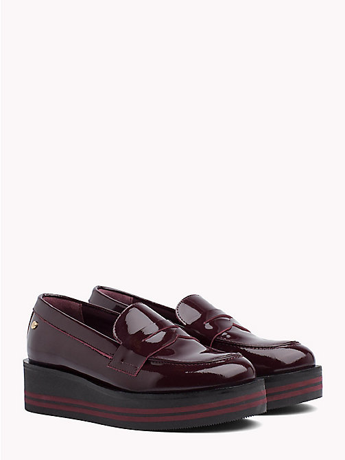 TOMMY HILFIGER Patent Flatform Loafers - DECADENT CHOCOLATE -  Moccasins & Loafers - main image