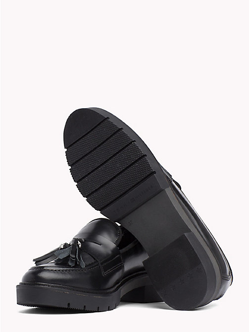 TOMMY HILFIGER Metallic Leather Tassel Loafers - BLACK -  Moccasins & Loafers - detail image 1