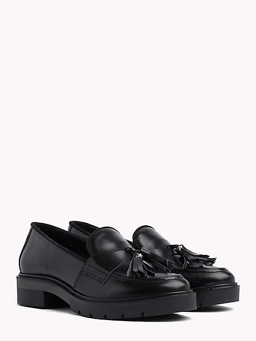 TOMMY HILFIGER Metallic Leather Tassel Loafers - BLACK -  Moccasins & Loafers - main image
