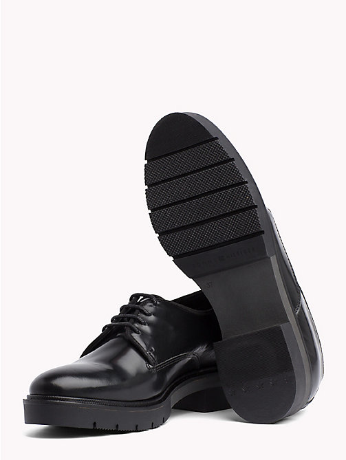 TOMMY HILFIGER Metallic Leather Lace-Up Shoes - BLACK - TOMMY HILFIGER The Office Edit - detail image 1