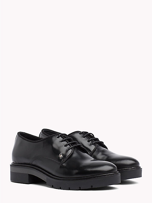 TOMMY HILFIGER Metallic Leather Lace-Up Shoes - BLACK - TOMMY HILFIGER The Office Edit - main image