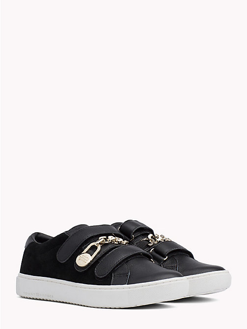 TOMMY HILFIGER Chain Strap Leather Trainers - BLACK - TOMMY HILFIGER Shoes - main image