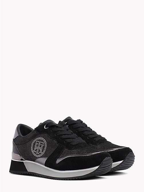 TOMMY HILFIGER Stud Monogram City Trainers - BLACK - TOMMY HILFIGER Trainers - main image
