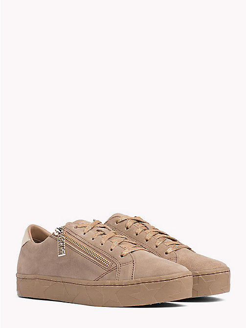 TOMMY HILFIGER Zipped Suede Trainers - TIGER'S EYE - TOMMY HILFIGER Trainers - main image