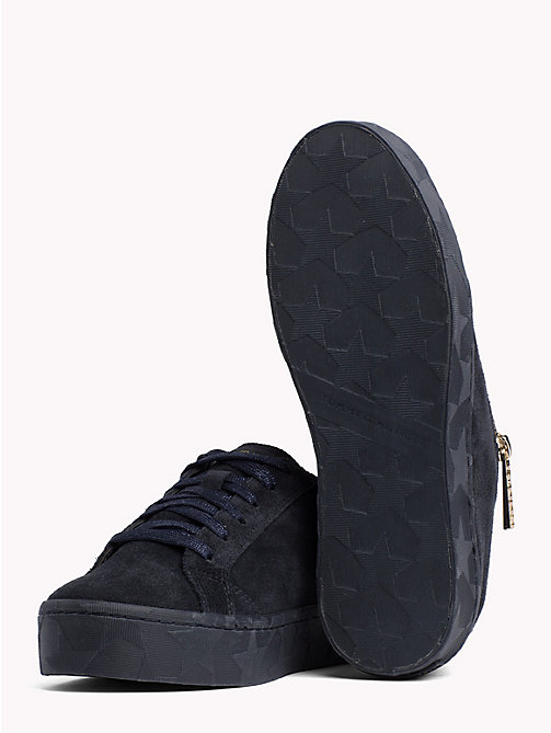 TOMMY HILFIGER Zipped Suede Trainers - MIDNIGHT - TOMMY HILFIGER Shoes - detail image 1