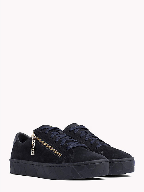 TOMMY HILFIGER Zipped Suede Trainers - MIDNIGHT - TOMMY HILFIGER Shoes - main image