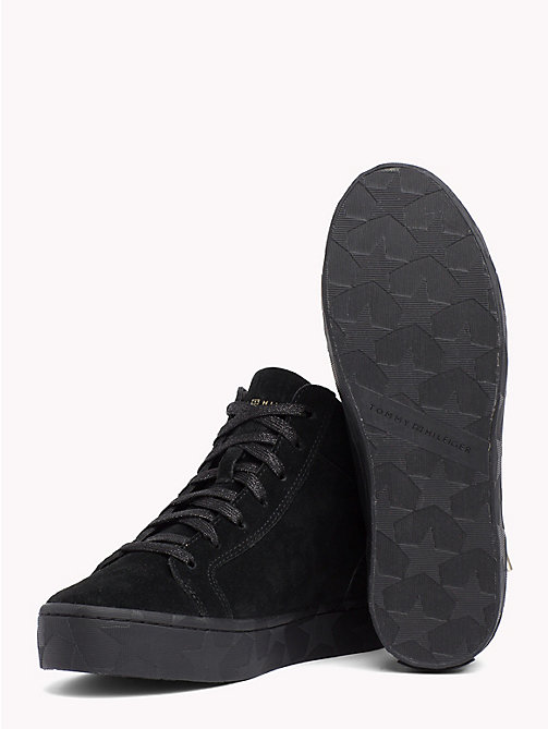 TOMMY HILFIGER Zipped Mid Cut Suede Trainers - BLACK - TOMMY HILFIGER Shoes - detail image 1