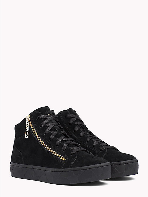 TOMMY HILFIGER Zipped Mid Cut Suede Trainers - BLACK - TOMMY HILFIGER Trainers - main image