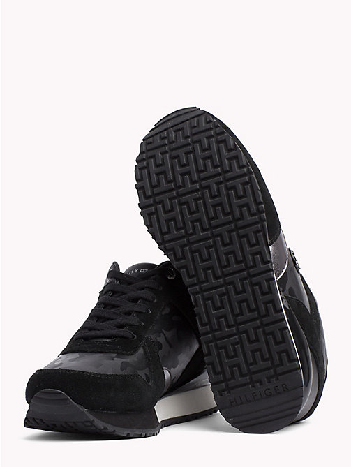 TOMMY HILFIGER Platform Suede and Patent Trainers - BLACK - TOMMY HILFIGER Trainers - detail image 1