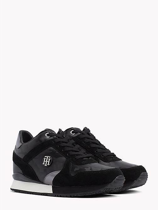 TOMMY HILFIGER Platform Suede and Patent Trainers - BLACK - TOMMY HILFIGER Trainers - main image