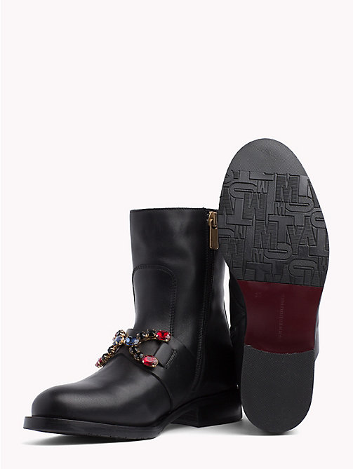 TOMMY HILFIGER Jewel Embellished Ankle Boots - BLACK - TOMMY HILFIGER NEW IN - detail image 1