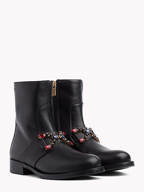 TOMMY HILFIGER Jewel Embellished Ankle Boots - BLACK - TOMMY HILFIGER NEW IN - main image