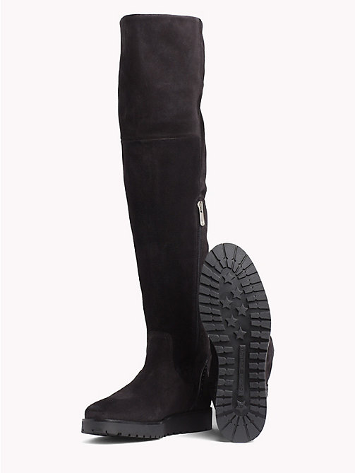 TOMMY HILFIGER Overknee Suede Boots - BLACK -  Knee-High Boots - detail image 1