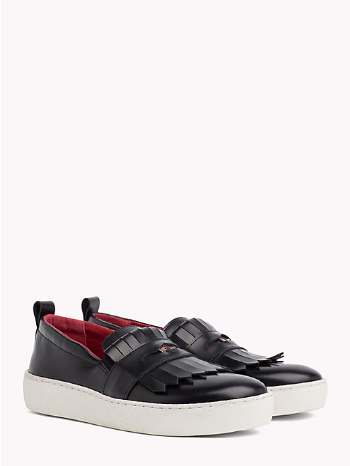 TOMMY HILFIGER Fringed Penny Loafer Trainers - BLACK - TOMMY HILFIGER Shoes - main image