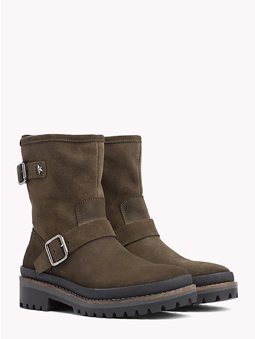 TOMMY HILFIGER Suede Biker Boots - MUSK - TOMMY HILFIGER Ankle Boots - main image