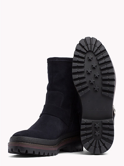 TOMMY HILFIGER Suede Biker Boots - MIDNIGHT - TOMMY HILFIGER Shoes - detail image 1