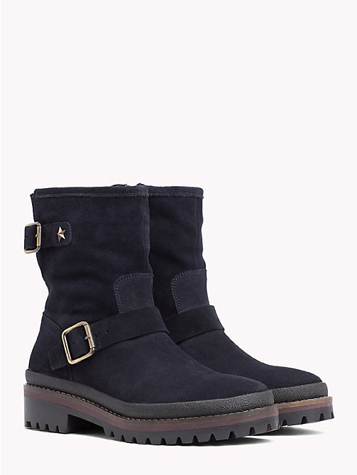 TOMMY HILFIGER Suede Biker Boots - MIDNIGHT - TOMMY HILFIGER Shoes - main image
