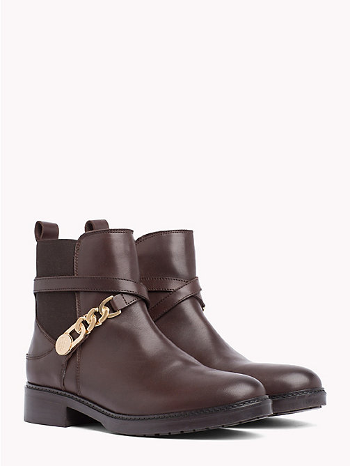 TOMMY HILFIGER Chain Embellished Leather Ankle Boots - COFFEE BEAN - TOMMY HILFIGER Shoes - main image