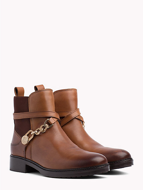 TOMMY HILFIGER Chain Embellished Leather Ankle Boots - COGNAC - TOMMY HILFIGER Ankle Boots - main image