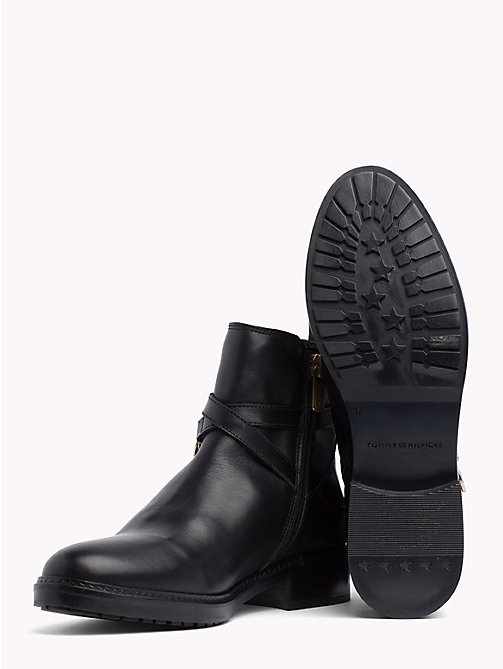 TOMMY HILFIGER Chain Embellished Leather Ankle Boots - BLACK - TOMMY HILFIGER NEW IN - detail image 1