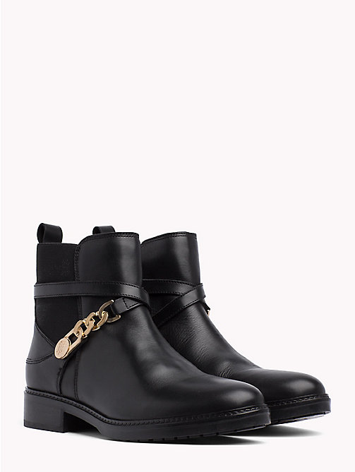 TOMMY HILFIGER Chain Embellished Leather Ankle Boots - BLACK - TOMMY HILFIGER Shoes - main image