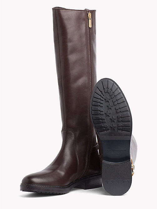 TOMMY HILFIGER Chain Long Leather Boots - COFFEE BEAN - TOMMY HILFIGER Knee-High Boots - detail image 1