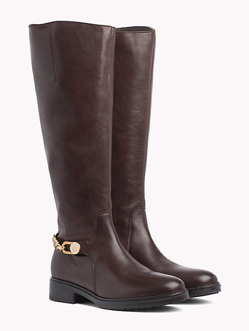 TOMMY HILFIGER Chain Long Leather Boots - COFFEE BEAN - TOMMY HILFIGER Knee-High Boots - main image