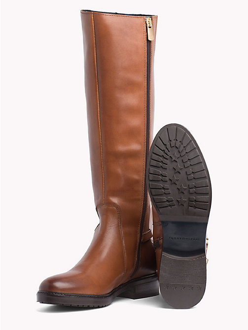 TOMMY HILFIGER Chain Long Leather Boots - COGNAC - TOMMY HILFIGER Knee-High Boots - detail image 1