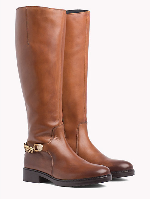 TOMMY HILFIGER Chain Long Leather Boots - COGNAC - TOMMY HILFIGER Shoes - main image
