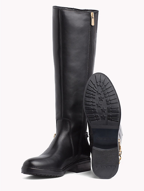 TOMMY HILFIGER Chain Long Leather Boots - BLACK - TOMMY HILFIGER Shoes - detail image 1