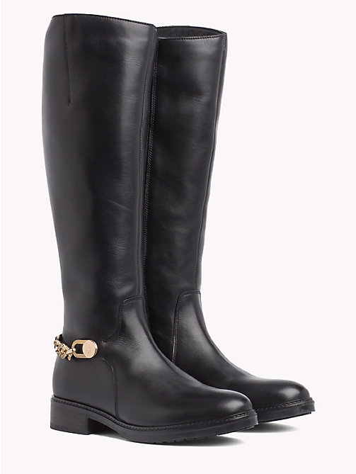 TOMMY HILFIGER Chain Long Leather Boots - BLACK -  The shoe edit - main image