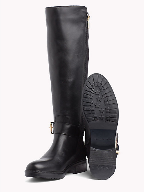 TOMMY HILFIGER Signature Tape Buckle Strap Boots - BLACK - TOMMY HILFIGER Knee-High Boots - detail image 1