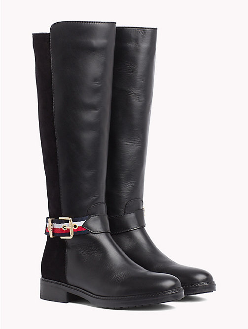 TOMMY HILFIGER Signature Tape Buckle Strap Boots - BLACK - TOMMY HILFIGER Knee-High Boots - main image