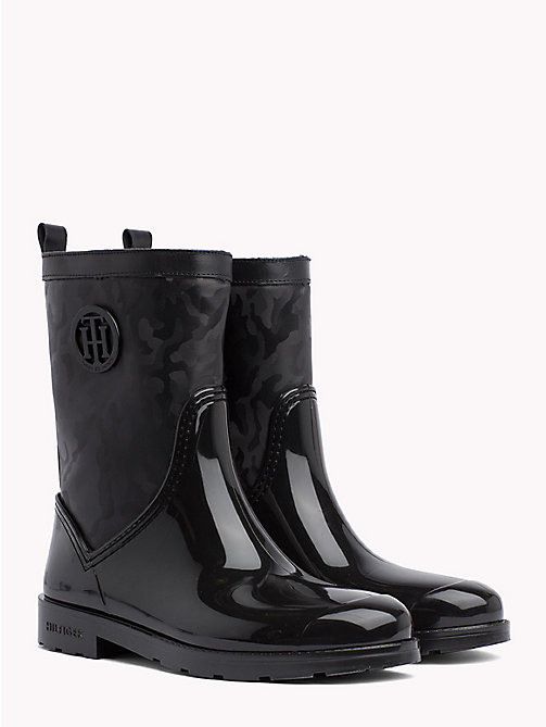TOMMY HILFIGER Camouflage Ankle Wellington Boots - BLACK - TOMMY HILFIGER Shoes - main image